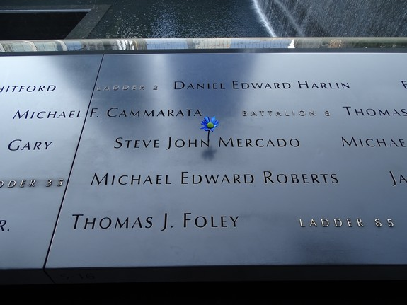 A flower marking the name of one of the victims on the 9/11 Memorial. A flower is placed on the person's birthday by the National September 11 Memorial & Museum.