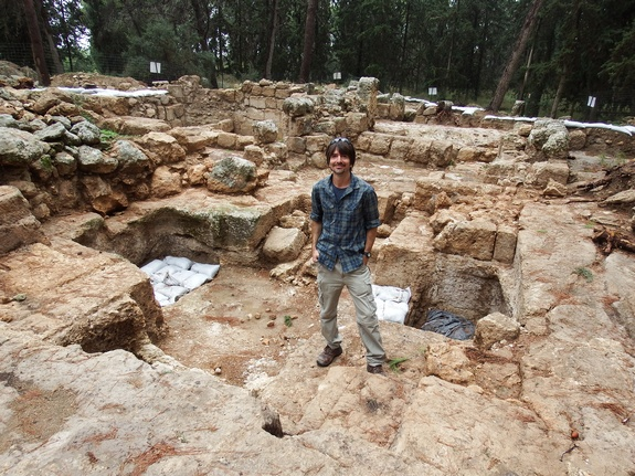 Israeli archaeologist Amit Reem at the Tomb of the Maccabees. His excavations suggest that this is probably where early Christians believed the tomb was located. However, further excavations at the site are required to prove it definitively.