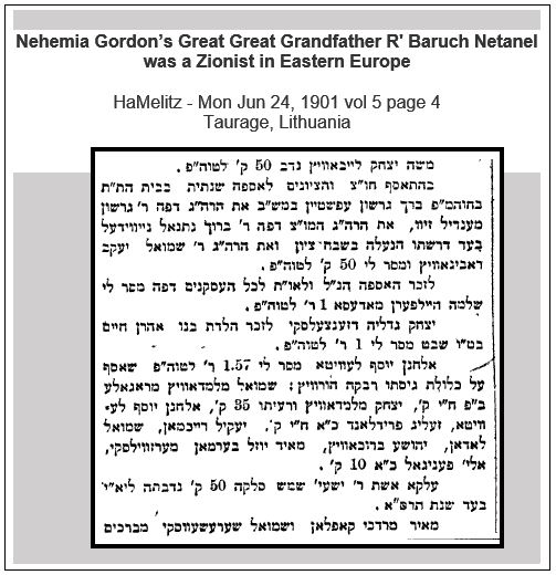 News clipping from Melitz (1901) mentioning Nehemia Gordon's Great Great Grandfather R' Baruch Netanel