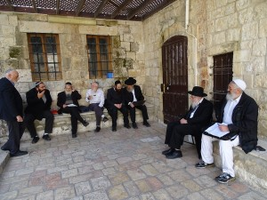 The Sanhedrin in deliberations on Mount Zion next to David's Tomb on March 30, 2016. The man standing on the far left is Professor Hillel Weiss. Photo by Nehemia Gordon.